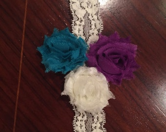 Mini shabby flower trio headband