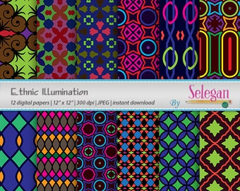 Ethnic Illumination digital scrapbook paper 12x12 printable african tribal pattern texture bright background download