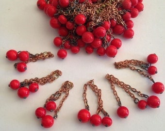Twenty (20) Vintage Made in Japan Bright RED Glass Bead Tassles, Tassels, 3 Beads, Copper Chain,