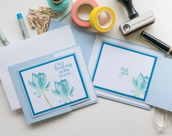Blue Trifold Thank You Cards, Handmade Stampin Up Greeting Card