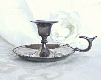 Silver Plated Bedchamber Candle Holder, Silver Candle Holder, Home Decor, Vintage Candle Holder, Vintage Decor