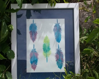 "Original water color painting, 11X8 ""Colorful Feather Pattern"""