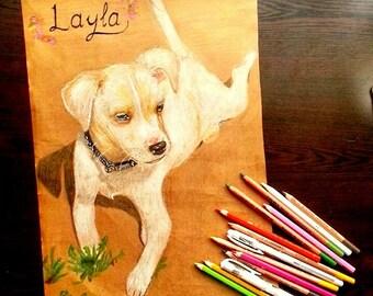 custom dog portrait-Custom Portrait-Custom Portrait Pet-dog portrait-valentines gift-Pencil Drawing-Frozen Art-