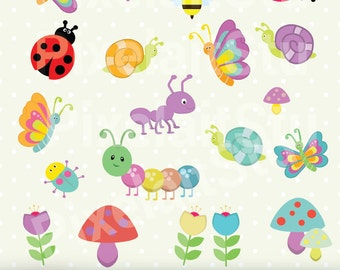 Cute Bugs, Clip Art Graphics Set, Bugs, Digital Clip Art, Commercial Use, Digital Download - PCL110