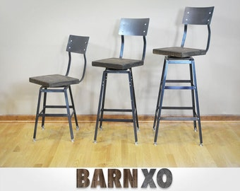 Reclaimed Urban Wood Swivel Seat Industrial Bar Stool Chair with BackrestIndustrial Modern