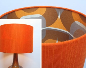 Retro Lampshade, Funky Original 60s/70s Fabric, 30cm Drum, Orange, Blue, Brown, Geometric, Striped