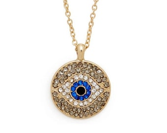 Gold Protection Pave Crystal Necklace