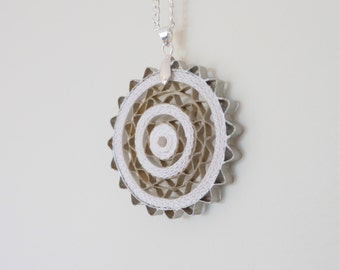 white and silver lace pendant #makeforgood