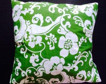 Floral Pillow Cover Cotton Green Cushion Cover Made in Hawaii Pillowcase 18x18 17x17 16x16 15x15 14x14 13x13inch 45x45 40x40 35x35 33x33cm