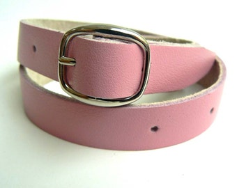 Thin leather bracelet, double wrap leather bracelet, buckle leather bracelet for women, pink wrist cuff