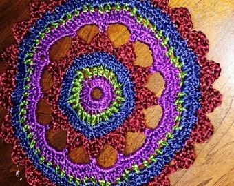 """Doily, Handmade Crochet, """"Gypsy Gemstones"""""""