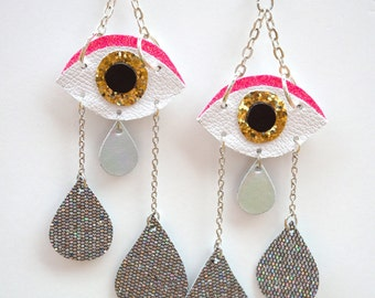 Hot pink  and gold glitter crying evil eye dangling earrings with holographic glitter tear drops