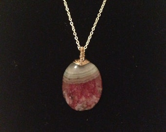 Pink and Green Stone Pendant Necklace