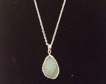 Green Druzy Pendant Necklace