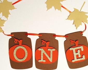 Fall Mason Jar Pumpkin High Chair Banner- Fall First Birthday
