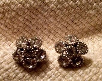Rhinestone button earrings