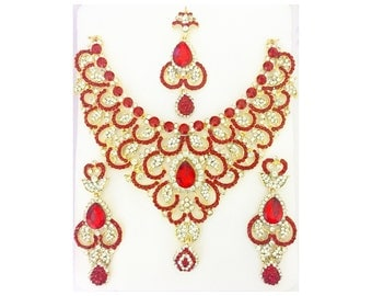 ON SALE! Red Indian Jewelry Set Bollywood Jewelry Set Red Necklace Red Earrings Red Tikka India Jewelry Fashion Indian Wedding Bridal