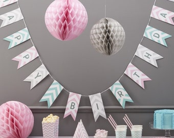 Happy Birthday Bunting - Chevron Divine Party Decorations Supplies