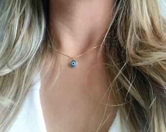 Blue Gold Evil Eye Necklace, Turkish Blue Eye, Blue Evil Eye, Gold Plated Turkish Evil Eye Necklace , Evil eye necklace, Gold eye Necklace