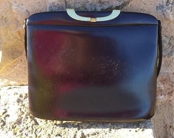 Brown leather handbag 50's