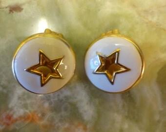 1980s Star Enamel Earrings, Clip ons