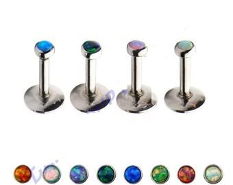 Opal Internally Threaded Labret Bar Studs Lip Monroe Tragus Bar 8mm- 8 Colours