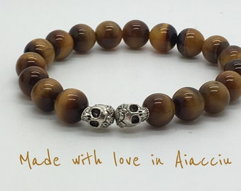 Beads Bracelet Tiger's eye and skulls