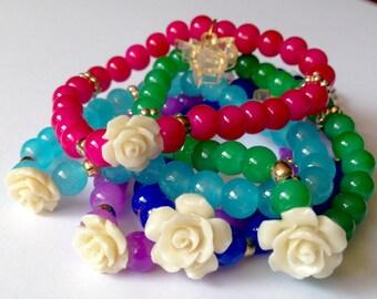 Rose bracelet;  Handmade Bracelets resin roses; Resin Roses Handmade Bracelet; Bracelets, Handmade, roses.