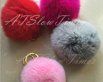 Pom Pom Fur Ball Keychain-Furry Bag charms Keychain Genuine Fluffy Key chain Handmade bunny rabbit fur handbag Charms-custom pompoms color
