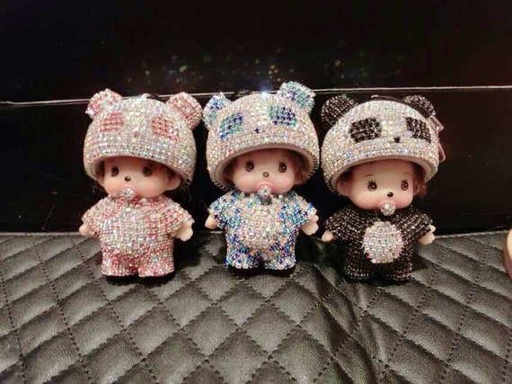 cute keychain crystal monchhichi with white fox fur ball. Black Bedroom Furniture Sets. Home Design Ideas