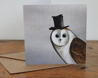 Christmas - 'Owl in a Top Hat' - Hand drawn card