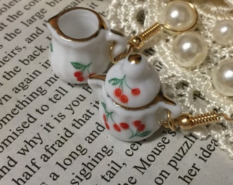 Milk and Creamer Teacup Earrings
