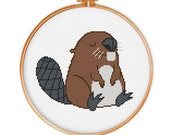 2 Beaver cross stitch patterns, modern cross stitch pattern, animal cross stitch, funny cross stitch pattern, counted cross stitch pattern
