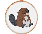 2 Beaver cross stitch patterns, modern cross stitch pattern, animal cross stitch, funny cross stitch pattern, counted cross stitch pattern