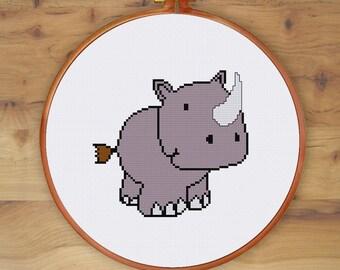 Cute Rhino cross stitch pattern|Modern funny rhino counted cross stitch chart| Cute nursery baby rhino cross stitch| Easy beginner pattern