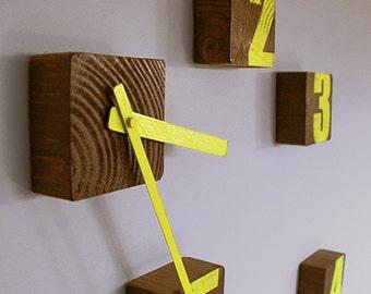 Block Clock, Wooden wall clock, yellow clock, Graffiti clock, Upcycled wood clock, Customizable clock, Customizable colors