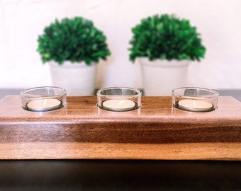 Walnut Candle Holder - Gift for Her - Wood Gift - 5 Year Anniversary - Mothers Day Gift - Candle Centerpiece - Wedding Display