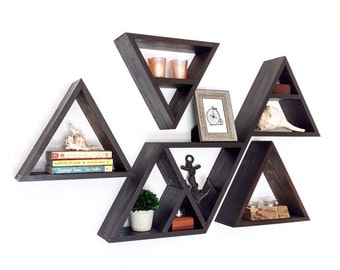 "Extra Deep Triangle Wood Shelves - Custom Made in Your Choice of Stain Color - 5 1/2"" Deep"