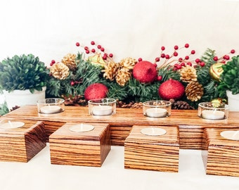 Luxury Candle Holder Set in Exotic Zebra Wood - Centerpiece - 5th Anniversary Gift - Gifts for Her - Christmas Gift