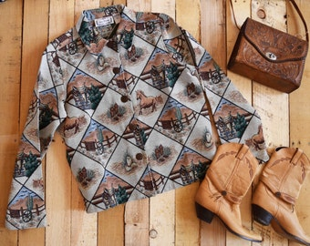 Vintage Women's M-L <> 80s/90s Sara Studio 100% Cotton Tapestry Cowgirl Jacket <> Country Western Fall