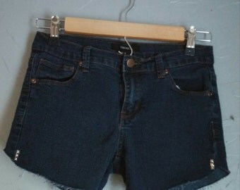 Low rise studded one of a kind denim shorts, upcycled thrift shorts, Forever 21 brand jean shorts, shredded cut offs,  stretch jean shorts