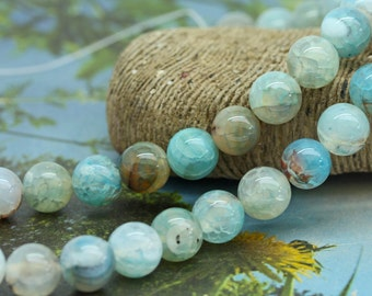 Agate Aqua Pale Blue Rainbow Round Beads Beads  10mm / Fire Agate beads / Blue Veined  Agate Beads / Blue  Gemstone Beads