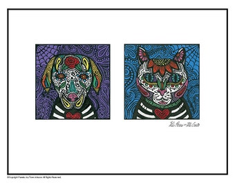 Art Print Dog and Cat Mi Perro Mi Gato Day of the Dead 12 x 16