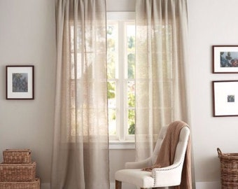 100% Linen Relaxed Rod Pocket Drapery Panels. Custom Drapery. Sheer Linen Curtains. 15 Colors of Linen Fabric. Designer Drapery Styles.