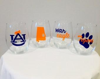 Auburn inspired wine glasses