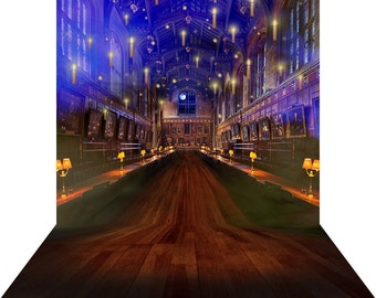 Photo Backdrop - Hall of Magic - High Quality Seamless Fabric with Floor (optional)