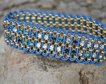 Colors of the Sea Sparkly Chain and Leather Bracelet