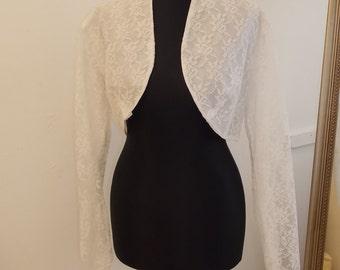 SALE 50% OFF Genuine Vintage 1950s White Lace Wedding Bridal Bolero Shrug Jacket UK Size 8/10 Long Softly Pointed Sleeve 1960s Fifties Coat