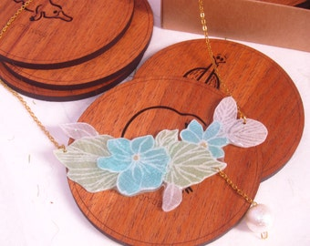 Handmade Fabric Flower Necklace (A)