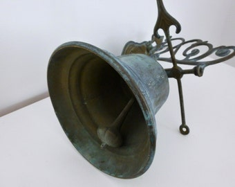 Large French Vintage Brass Bell With Cherub Detail